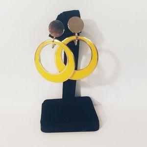 Vintage yellow hoop style clip-on earrings